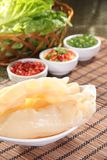 Fresh and tasty seafood cuisine. Seafood cuisine of shrimp, abalone, squid, mussel, oyster or scallop Stock Photography