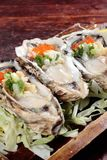Fresh and tasty seafood cuisine. Seafood cuisine of shrimp, abalone, squid, mussel, oyster or scallop Royalty Free Stock Photography