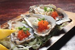 Fresh and tasty seafood cuisine. Seafood cuisine of shrimp, abalone, squid, mussel, oyster or scallop Royalty Free Stock Images