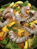 Seafood diner in process of making. Royalty Free Stock Image