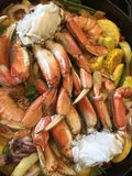 Seafood diner in process of making. Stock Image