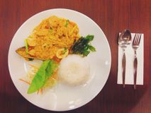 Seafood cuury. Thai rice with seafood curry stock photo