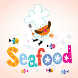 Seafood decorative type with chef character Stock Photography