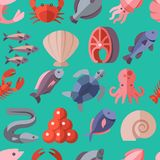 Seafood delicacies and cooking fish vector flat icons seamless background Royalty Free Stock Photos