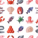 Seafood delicacies and cooking fish vector flat icons seamless background vector illustration