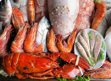 Seafood delicacies offer. On Mediterranean fish market stock photos