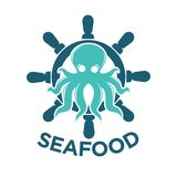 Seafood delivery emblem with octopus and steering wheel. Fresh seafood delivery promotional logotype with turquoise cartoon glossy octopus, big blue wooden Stock Photos