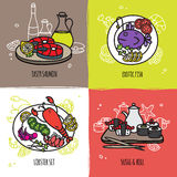 Seafood Design Concept Set Stock Photos