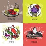 Seafood Design Concept Set Stock Photos