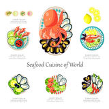 Seafood design set. Infographic food business Royalty Free Stock Images