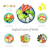 Seafood design set. Infographic food business Stock Image