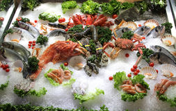 Seafood. Detail at the fish market Royalty Free Stock Photos