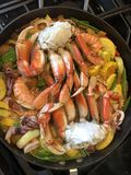 Seafood diner in process of making. Stock Photo
