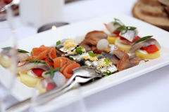 Seafood at a dining table Stock Image
