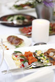Seafood at a dining table Royalty Free Stock Photo