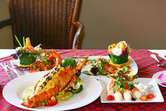 Seafood at a dining table Stock Images