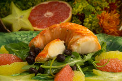 Seafood dinner. Delicious plate of seafood, vegetables and fruit. Low fat, low calories Royalty Free Stock Photography