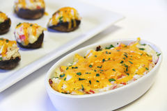 Seafood dip and crab stuffed mushrooms Stock Image