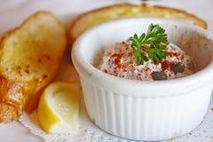 Seafood Dip in ramekin with Garlic Toast Stock Photography
