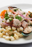 Seafood dish. Appetizing lunch of seafood dish Royalty Free Stock Image