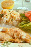 Seafood dish. With rice and salad Royalty Free Stock Images