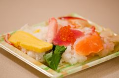 Seafood dish with salmon, tuna, omelet, caviar and etc. Seafood dish with salmon, tuna, omelet, caviar and riсe stock photos