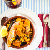 Seafood dish and sangria Stock Photos