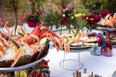 Seafood dish served on the restaurant table. Creative restaurant meal concept, haute couture food. Selection of fresh seafood mix. Appetizing seafood platter Stock Image