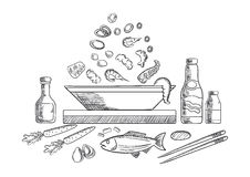 Seafood dish sketch with fish and vegetables. Seafood dish sketch with pieces of tuna, shrimps, mussels, olives and vegetables, sauce bottles, chopsticks, whole Stock Photos