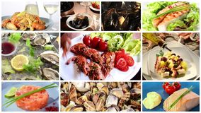 Seafood dishes collage stock footage