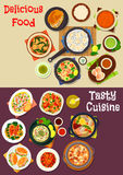 Seafood dishes icon for restaurant menu design Stock Image