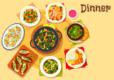 Seafood dishes with salads icon for menu design Royalty Free Stock Images