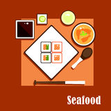 Seafood dishes and sauce of asian cuisine Stock Images