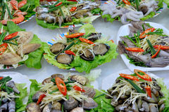 Seafood for dishes. Various seafood as fish and snail, and other raw material in dishes, shown as featured local aroma and different cooking or food culture as Stock Image