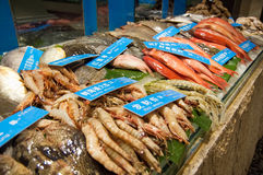 Seafood display in market Stock Photo