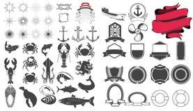 Seafood emblem design elements set Stock Images