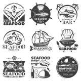 Seafood Emblem Set Stock Photos