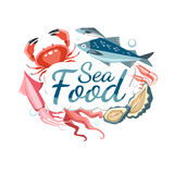 Seafood emblem sticker Royalty Free Stock Images