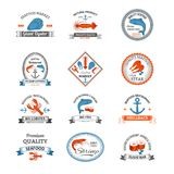 Seafood Emblems Colored Royalty Free Stock Photos