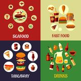 Seafood, fast food and drinks flat icons Stock Photo