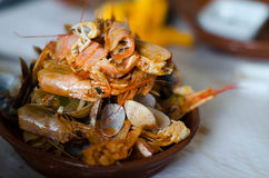 Seafood Feast Aftermath. Tureen of empty seafood shells after a seafood feast in Faro, Portugal royalty free stock photos