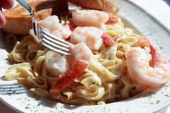 Seafood Fettuccine Alfredo Stock Images