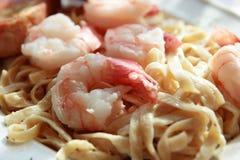 Seafood Fettuccine Alfredo Royalty Free Stock Photo