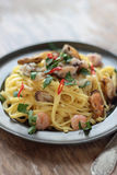 Seafood fettuccine. Royalty Free Stock Photo