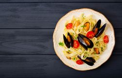 Seafood fettuccine pasta royalty free stock photos