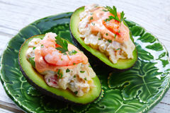 Seafood filled avocado with shrimps tapas pinchos Royalty Free Stock Images