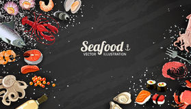 Seafood And Fish Background Royalty Free Stock Images