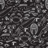 Seafood and fish chalkboard seamless background. Pattern on black with white line drawings of fish  calamari  lobster  crab  sushi  shrimp  prawn  mussel Stock Photography