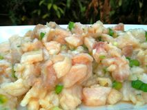 Cebiche, ceviche. Seafood. Fish cocked in lemon juice with onions, salt, pepper, sweet chili. Traditional latinoamerican food with origins in the asian food royalty free stock photos