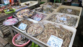 Seafood, fish, crabs, prawn and squid at a local market in Bangkok Stock Photo